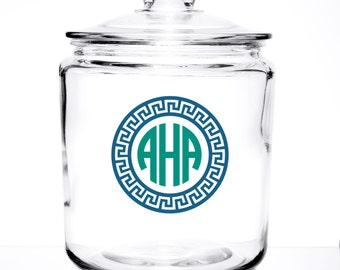 Monogrammed Glass Cookie/Pet Treat  - Greek Design