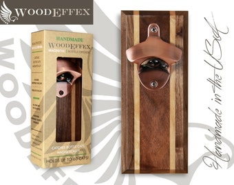 Bottle Opener Magnetic Cap Catcher - Handcrafted Walnut Wood & Alder Inlay with Brushed Copper Opener (No Personalization)