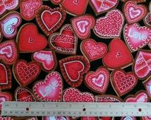 Love Is All Around chocolate heart Fabric by the Yard- Kanvas/Benartex Fabrics Sweet Hearts-CG Style 4910G Color 12