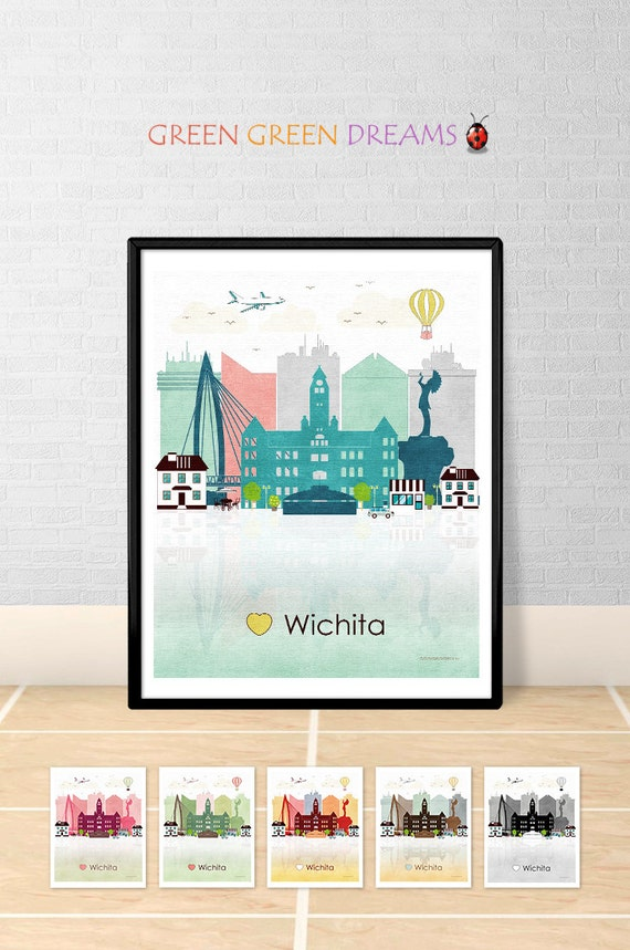 Wichita print poster wall art printable wichita kansas wichita for Craft stores wichita ks
