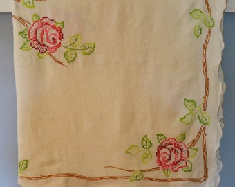 Vintage 46 in. x 62 in. Embroidered Roses Cotton Tablecloth, Vintage Tablecloth