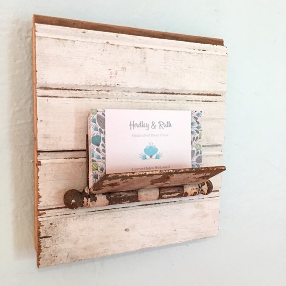Wall Decor Card Holder : Rustic business card holder office decor letter