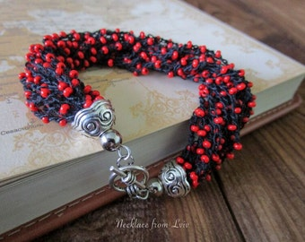 Red Black bracelet Beaded bracelet
