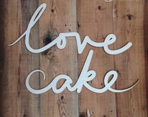 Wedding cake table prop rustic wooden wall hanging love