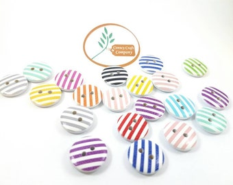 Striped Wooden Buttons x 20 15mm