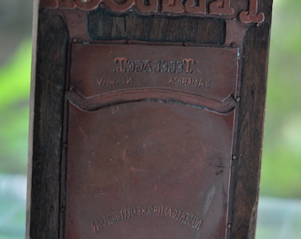 "Antique Letterpress Print Block - ""Telesoga"" Cover"