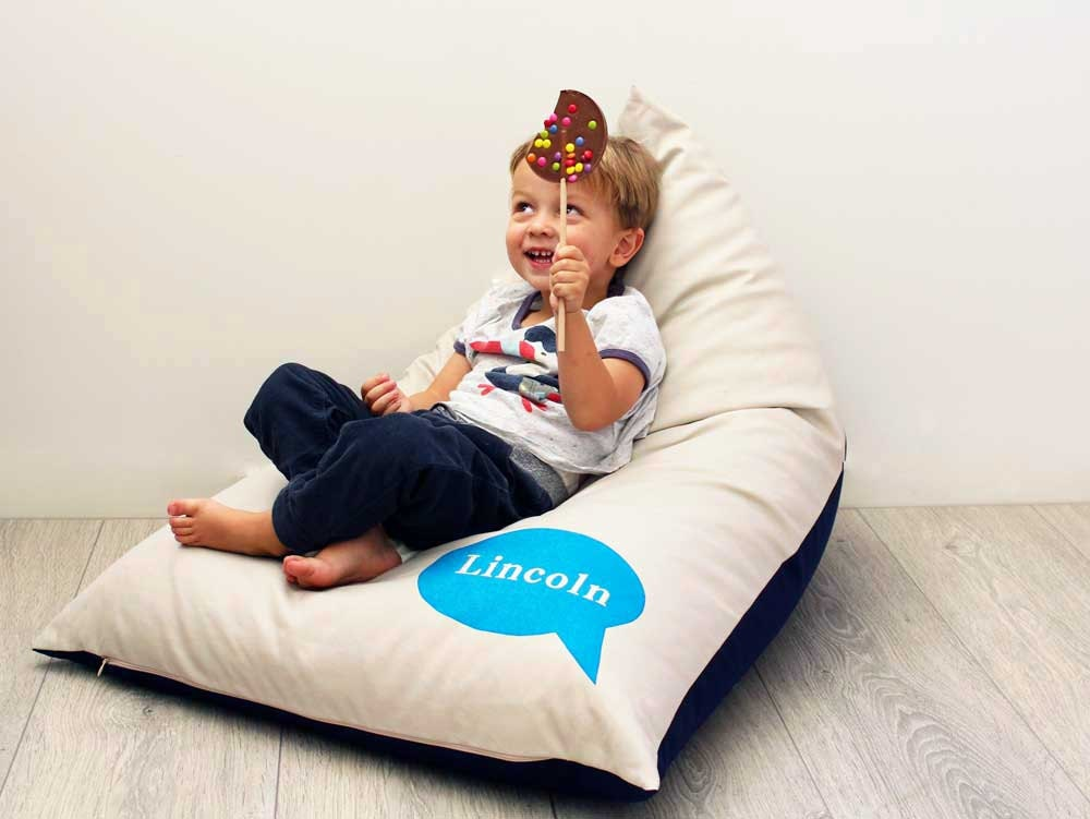Personalised Kids Bean Bag With Blue Bubble Boys Chair Childs Furniture Cushion Personalized