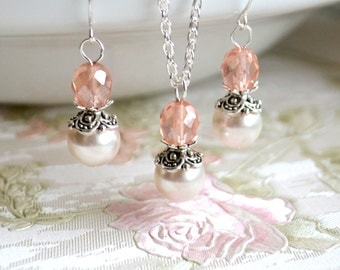 Pink wedding jewelry set of necklace and earrings Pink Bridesmaid Jewelry Set Bridesmaid Gift set of necklace and earrings Vintage weddings