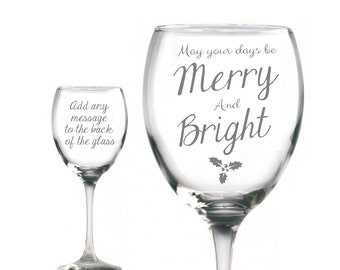 Personalised Engraved Wine Glass 'May Your Days Be .. ' Add a personal message