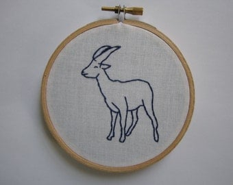 Embroidered Goat Hoop Art