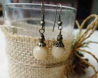 Light Sandy Brown Jade Wire Wrapped Earrings - ERU160