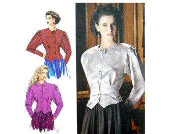 1988 Style 1667 Blouses with Front Button Opening, Fitted Waistlines and Pointed Hemline, Uncut, Factory Folded Sewing Pattern Size 8-12