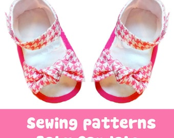 Baby shoe Sewing pattern, baby sandal Bow accesory for summer, pdf patterns for children No 38, girl dress shoes, Bow accesory for summer