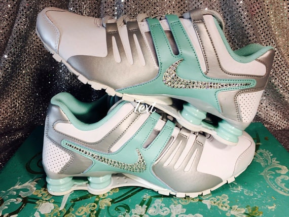 huge selection of 596c0 ede07 best Blinged Nike Womens NIKE Shox Current Shoes TEAL by ...