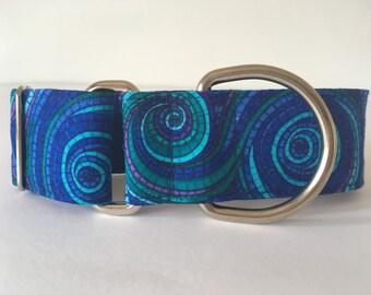 Blue spiral , collar martingale, Greyhound Collar, dogs, strap collars dog, blue spiral, Spain - 4GUAUS.COM