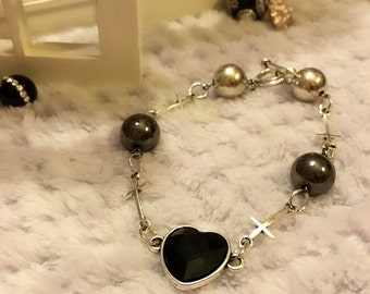 Black Heart & Crosses Bracelet