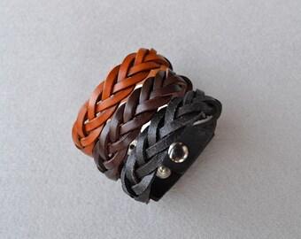 Braid Leather Bracelet Leather Cuff Braid Bracelet Mother's Day Gift Tan Brown Black