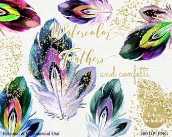 WATERCOLOR FEATHER CLIPART Commercial Use Clip Art Rainbow Feathers with Gold Confetti Watercolour Feather Graphics Tribal Feather Images