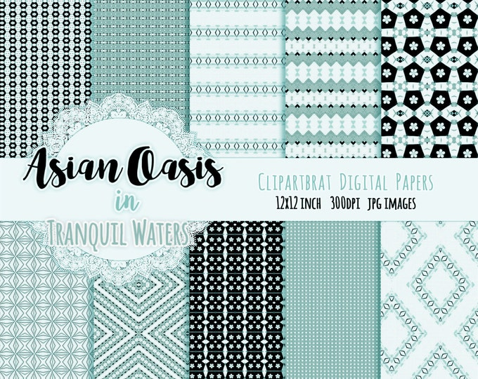 """TEAL FLORAL Digital Paper Pack Commercial Use Background Paper """"Tranquil Waters"""" Dgital Paper Chevron Argyle Blossom Geometric Digital Paper"""