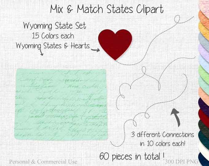 WYOMING STATE to STATE Clipart Commercial Use Clipart Mix & Match Home States Wedding Clipart Wyoming Map Graphic United States Shapes