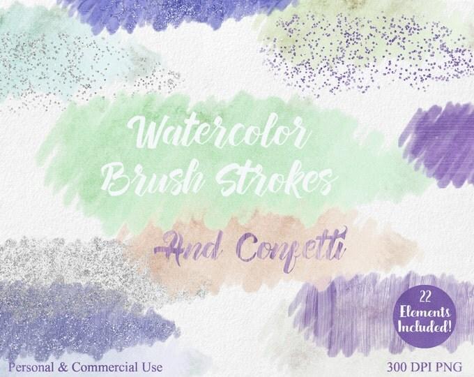 WATERCOLOR PAINT Strokes Clipart Commercial Use Clipart 22 Watercolor Brush Mint Peach Silver Confetti Watercolor Textures Logo Clip Art