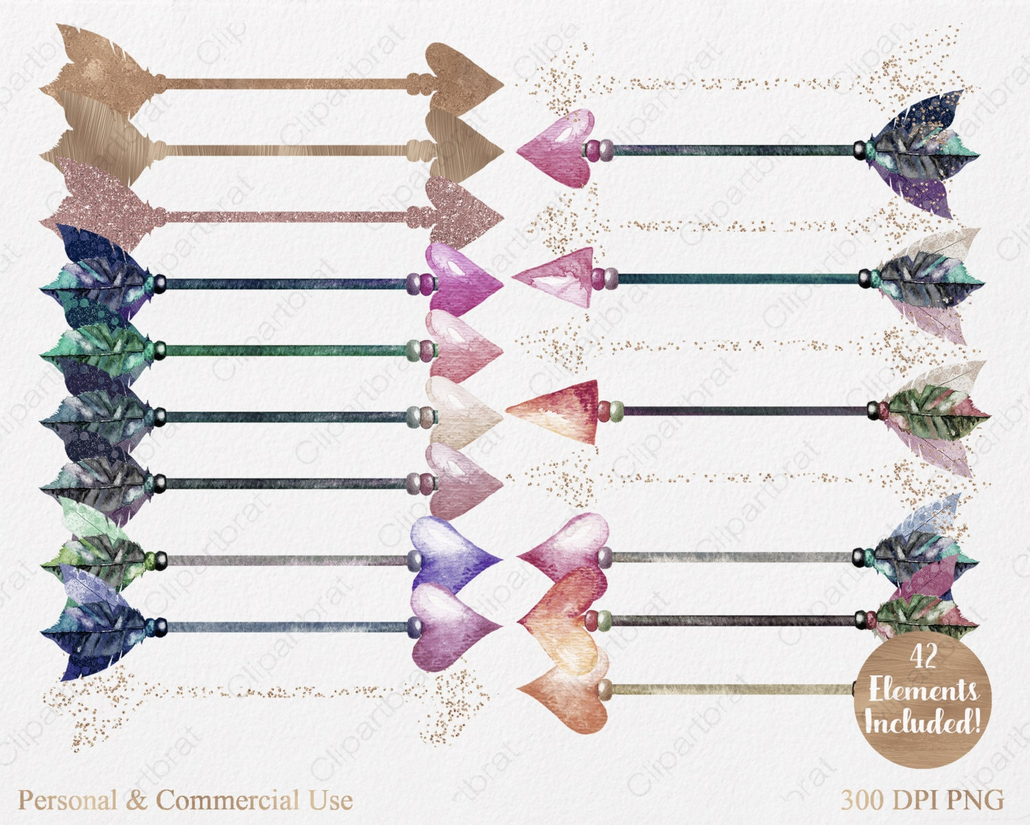 ARROW CLIP ART Commercial Use Clipart 42 Watercolor Feather Arrow ...