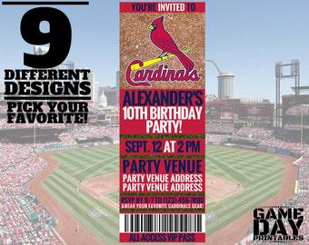St Louis Cardinals Birthday Invitation - Printable St Louis Cardinals Baseball Invite