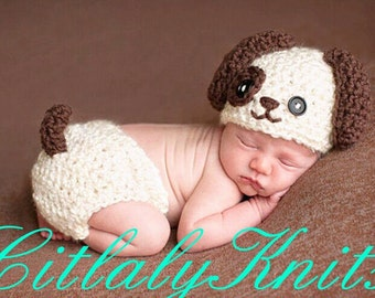 Puppy Outfit for crochet baby girl and boy Photo prop