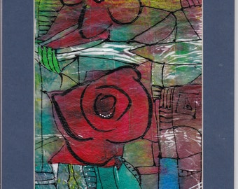 Stained glass roses on tissue. Unique and original hand printed tissue embellished with mixed media.