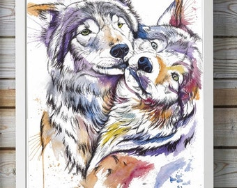 Print colorfull wolf/ fox