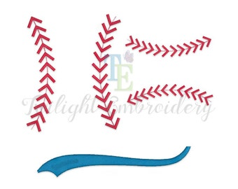 Set of 2 Baseball Stitches Machine Embroidery Designs, Baseball Laces Embroidery Designs, Baseball Swoosh Machine Embroidery Design 0012