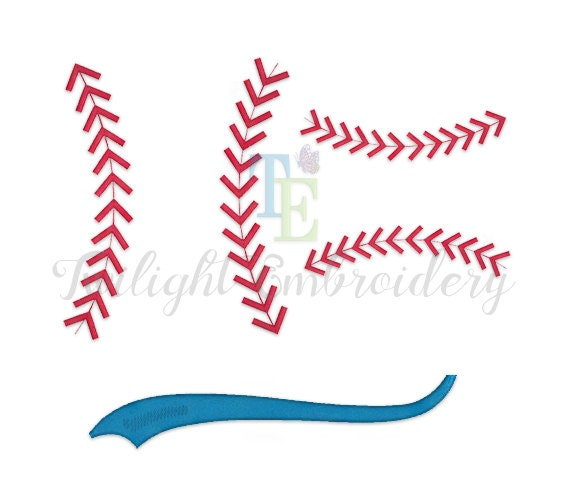 Set Of 2 Baseball Stitches Machine Embroidery Designs