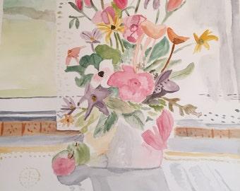 Flower vase, original watercolor painting, 15x22 painting