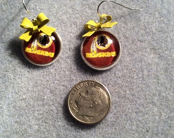 NFL Washington cabochon earrings with Yellow bow