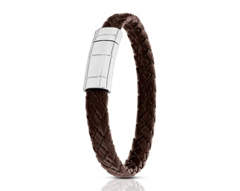 925 Sterling Silver Bracelet,  Magnetic Leather bracelet, Silver Brown Bracelet, brown leather bracelet, silver clasp bracelet