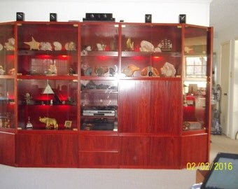 Local Pick Up Only** Five Piece Rosewood Wall Unit, Lighted Display Case, Media Center, Home Theater Center