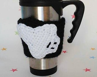 Ghost Cup Cosy, Ghost Hunter Gift, Crochet Cup Cosy, Coffee Sleeve, Reusable Mug Cover, Halloween Party, Silhouette Design, Cup Accessories