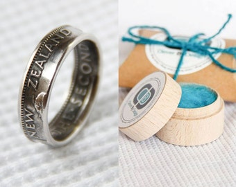 New Zealand Shilling Coin Ring - Hand Made