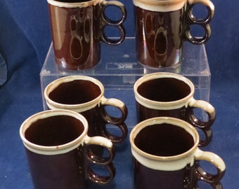 Mid-Century Japanese DRIP-GLAZED Mugs - Set of 6 - Very Cool REDWARE
