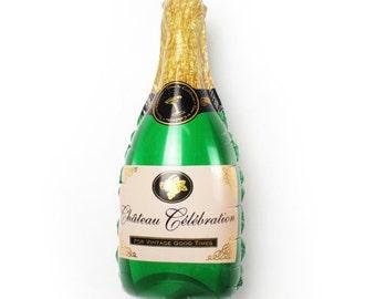 "Champagne Bottle Balloon Large 36"" Mylar Engagement Party Bridal Shower Decor Bachelorette Party Decor Birthday Celebration Anniversary"