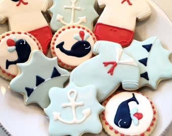 Nautical Themed Baby Cookies