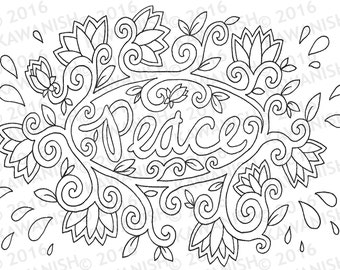 peace lotus floral adult coloring page gift wall art hippie zentangle