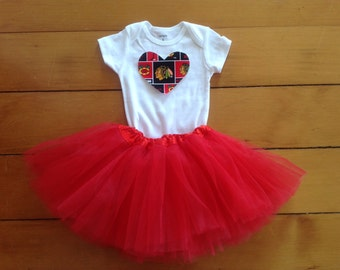 Go Blackhawks! Baby girl hockey fan tutu set. A baby shower gift idea.