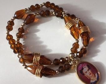 Frida kahlo brown beaded bracelet