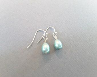 Petite Light Teal Glass Pearl Teardrops . Earrings