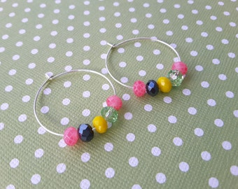 Springtime Colors Hoops . Earrings