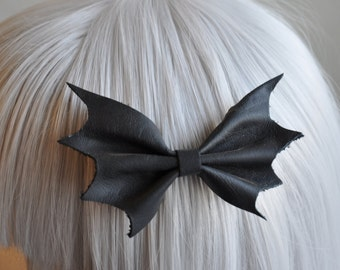 Bat Wing Bow - Elegant Gothic Lolita - Genuine Leather
