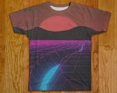 80s Grid Vaporwave Tshirt Two Sided Clothing