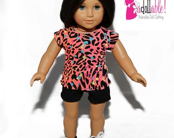Special Sale 18 inch Doll Clothing, Cheetah Splattered Top, Black Shorts made to fit like American girl doll clothes