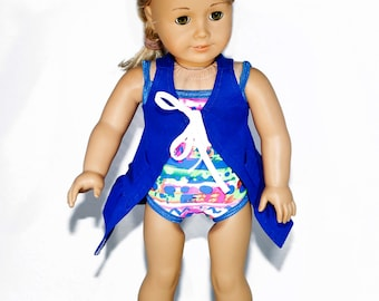 American made Girl Doll Clothes, 18 inch Girl Doll Clothing, Swimming Suit, Royal Blue Coverup made to fit like American girl doll clothes